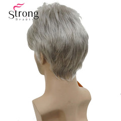 StrongBeauty Short Silver gray Wig Mens Short Synthetic Hair Wigs COLOUR CHOICES