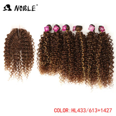 Noble Synthetic Hair Weave 16-20 inch 7Pieces/lot Afro Kinky Curly Hair Bundles With Closure African lace For Women hair Extensi