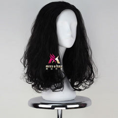 Miss U Hair Medium Long Wavy Curl Natural Black Color Cosplay Costume Wig for Men Adult Halloween Party