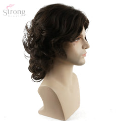 StrongBeauty Men Wig Brown Medium Curly Synthetic Natural Full Wigs