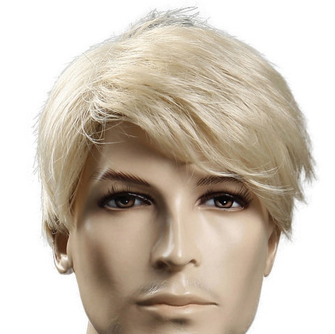 HAIR SW Synthetic 6inch Short Blonde Wig Natural Hair Men Straight hairStyles Heat Resistant Fiber (Blonde 6inches)