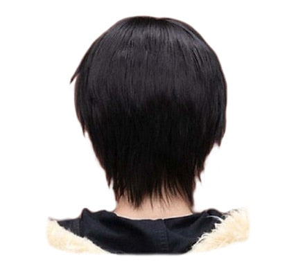 QQXCAIW Men Boy Short Straight Cosplay Men Party Black 32 Cm Heat Resistant Synthetic Hair Wigs (12inches)