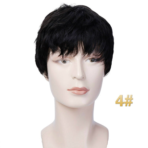 Allaosify Men Wigs Short Straight Hair 3 Colors Natural Synthetic Hair Pixie Cut Wigs Heat Resistant Cosplay Wigs