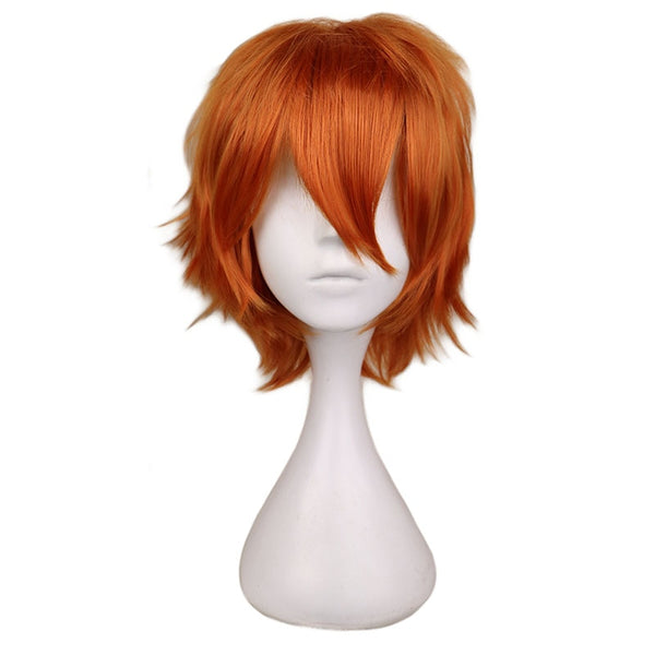 QQXCAIW Men Short Costume Cosplay Wig Boys Orange Heat Resistant Synthetic Hair Wigs (14inches)