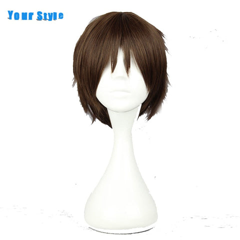 Your Style Short Pixie Cut Curly Brown  Wig Cosplay Male Synthetic Fake Hair Mens High Temperature Fiber