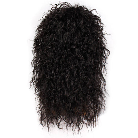 AISI HAIR Long Natural Black Curly wigs With Bang 20 Inches Synthetic Wigs  for Black Man/Women Heat Resistant (Natural Black 20inches)