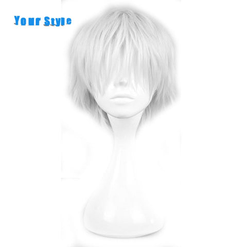 Your Style Short Curly Silver Gray Mens Cosplay Hair Wigs For Party Costume Natural Hair  Synthetic High Temperature Fiber
