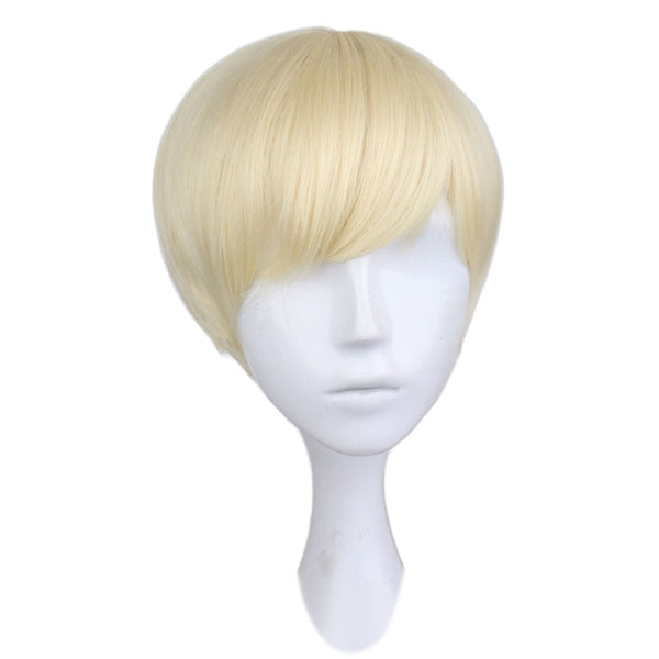 QQXCAIW Short Straight Cosplay Men Boy Party Blonde 30 Cm Synthetic Hair Wigs (12inches)