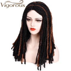 Vigorous  Synthetic Long Dreadlock Hair Wig for Women/Men Faux Locs Crochet Braids Wig Heat Resistant Fiber Mix Color