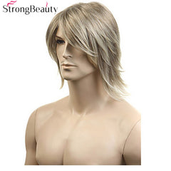 StrongBeauty Synthetic Hair Blonde Straight Wig For Men Cosplay Halloween Medium Long Wigs