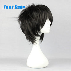 Your Style Short Brown Curly  Cosplay Wigs Men for Party Costume Synthetic Hair High Temperature Fiber