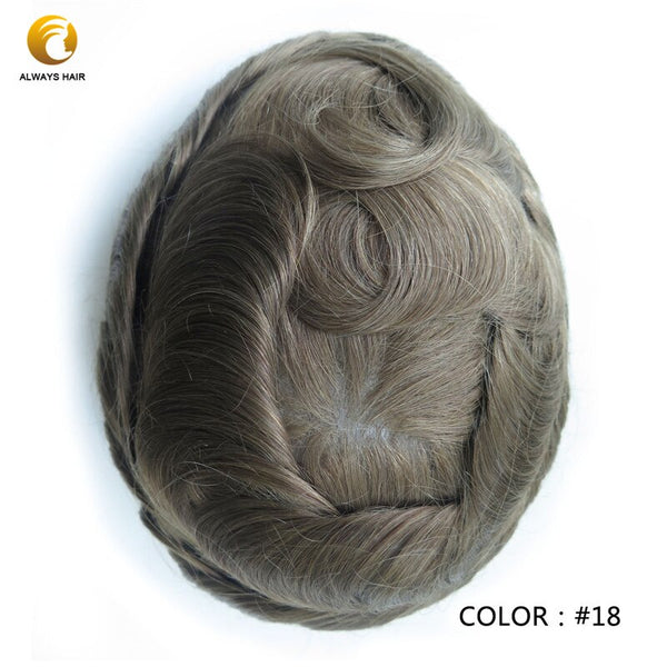 Semi Quality Natrural Hairline Thin Skin Wig 6 inch Hair Replacement Free Style Indian Human Hair Men Toupee PU Men Hair Unit