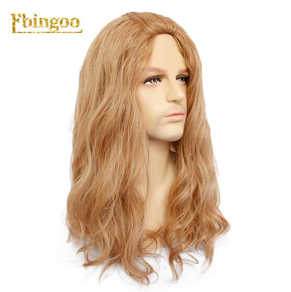 Ebingoo Free Hair Cap+Brown Long Water Wave Synthetic Cosplay Wig Men Male High Temperature Hair Perucas (Brown 24inches)