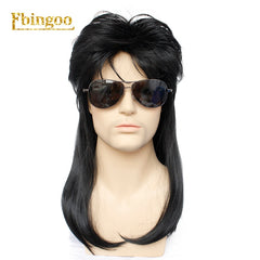 Ebingoo 70s 80s Hallween Metal Rocker Disco Wig Men Black Long Natural Straight Synthetic Wigs Mullet Role Play Party for Male