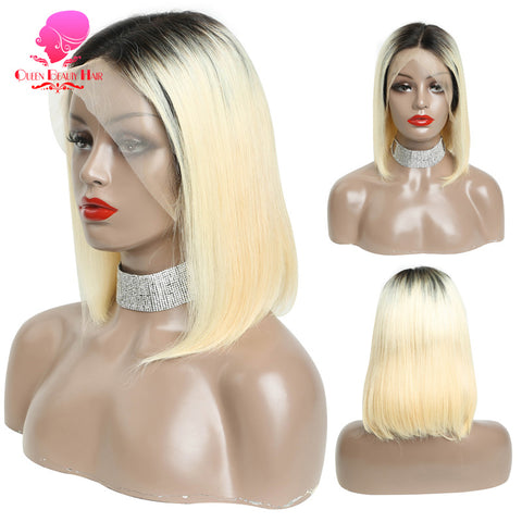 Queen 13x6 613 Blonde Brazilian Straight Human Hair Bob Wigs 8 - 16 Inch Remy Short Ombre Bob Lace Front Wigs for Black Women