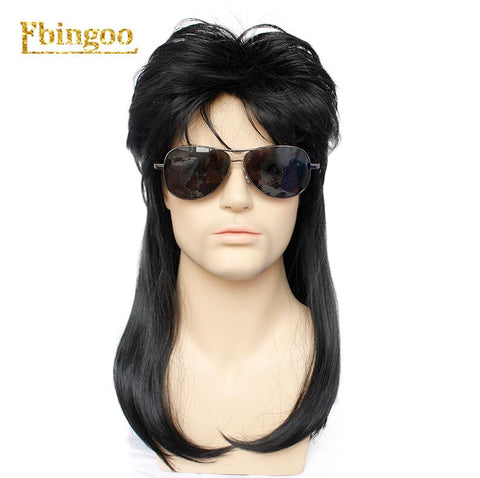 Ebingoo 70s 80s Hallween Metal Rocker Disco Wig Men Black Long Natural Straight Synthetic Wigs Mullet Role Play Party for Male (#1B 22inches)