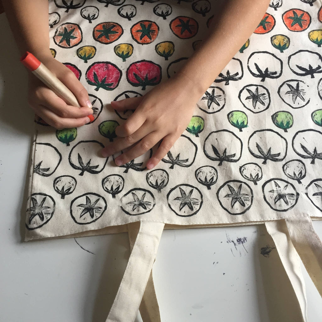 A Childhoods Store - Tomato: CYO Market Tote Kit With Eco-Friendly Crayons