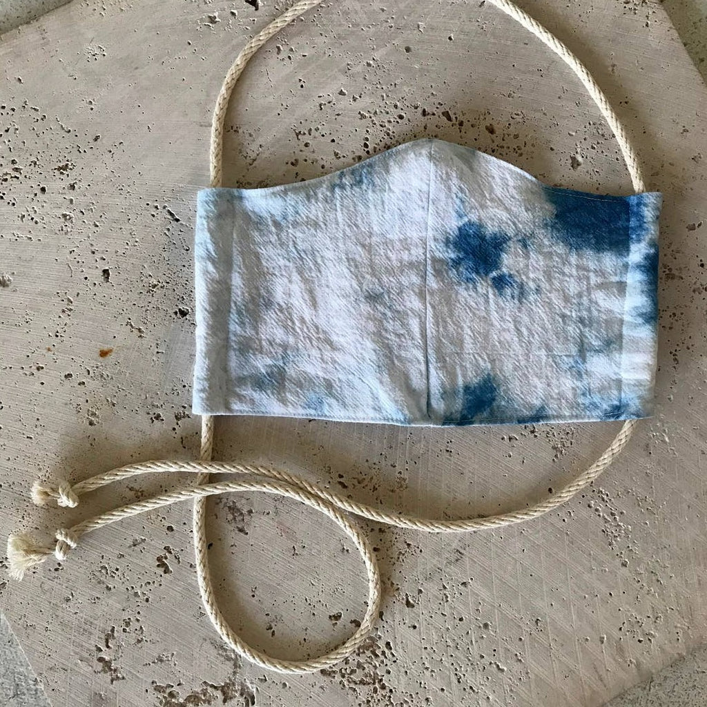 Rosemarie Textiles - Plant Dyed Cotton Face Mask Tie Dyed Indigo
