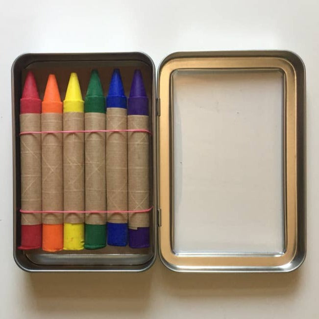 Set of 6 Traditional Eco-Friendly Crayons in Metal Tin