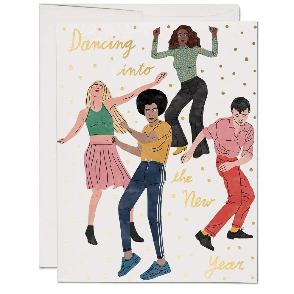Red Cap Cards - Dancing into the New Year Card