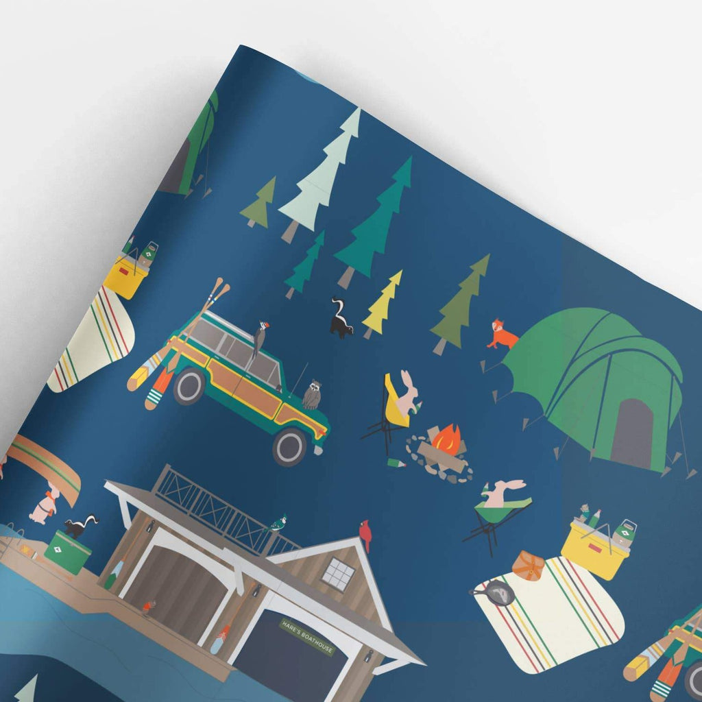 REVEL & Co. - Fish Camp Gift Wrap Roll (3 sheets/roll)