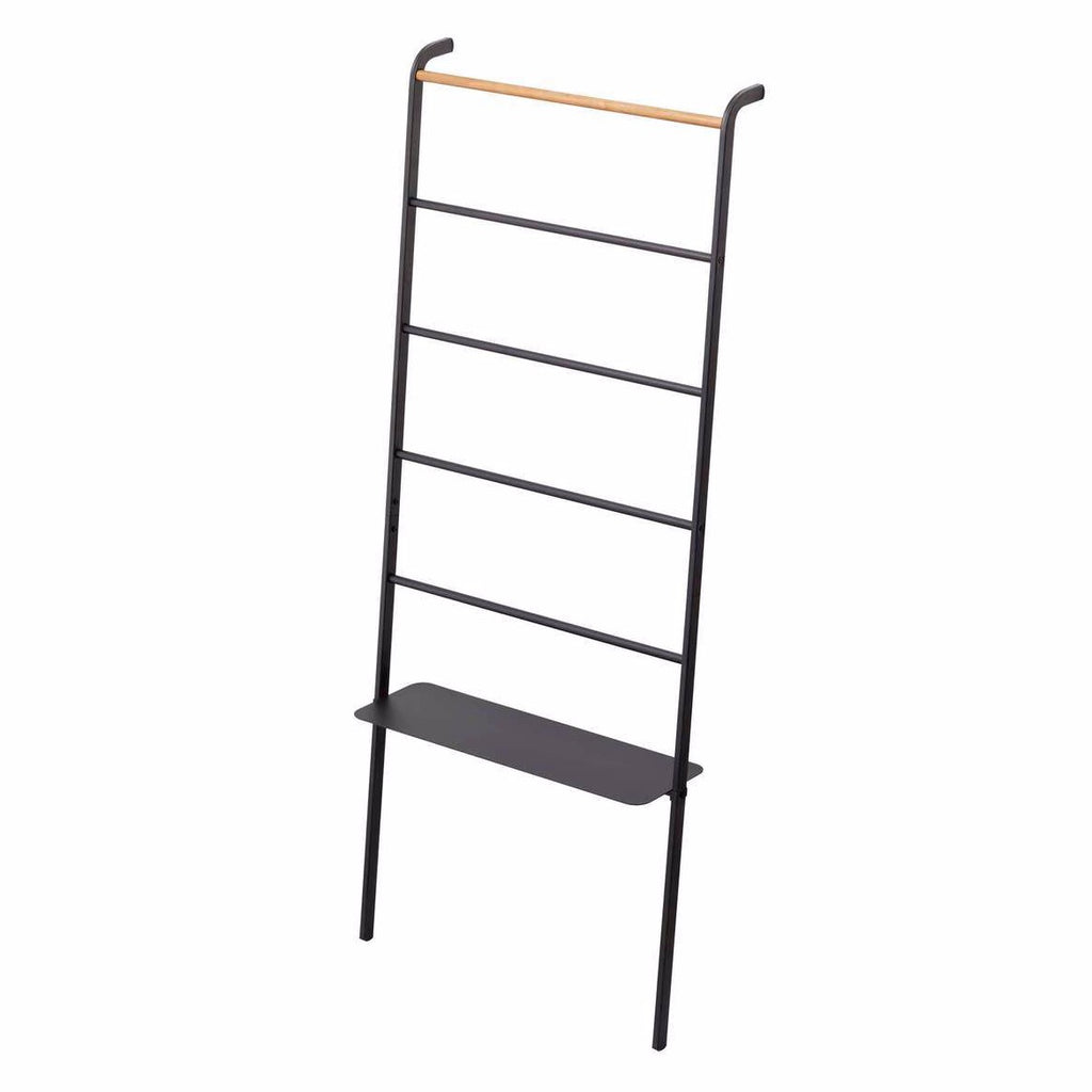Yamazaki Home - Tower Leaning Ladder Black with Shelf