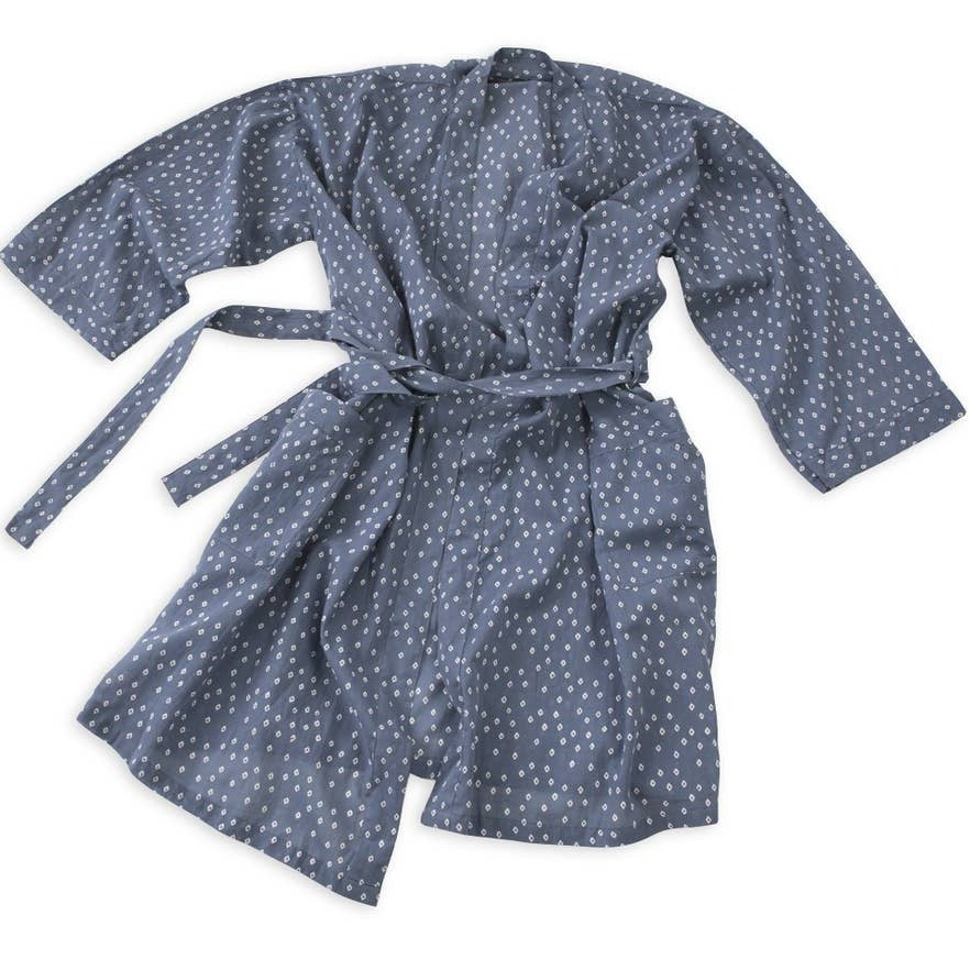 Graymarket - Troye Ocean Blue Block Printed Cotton Robe