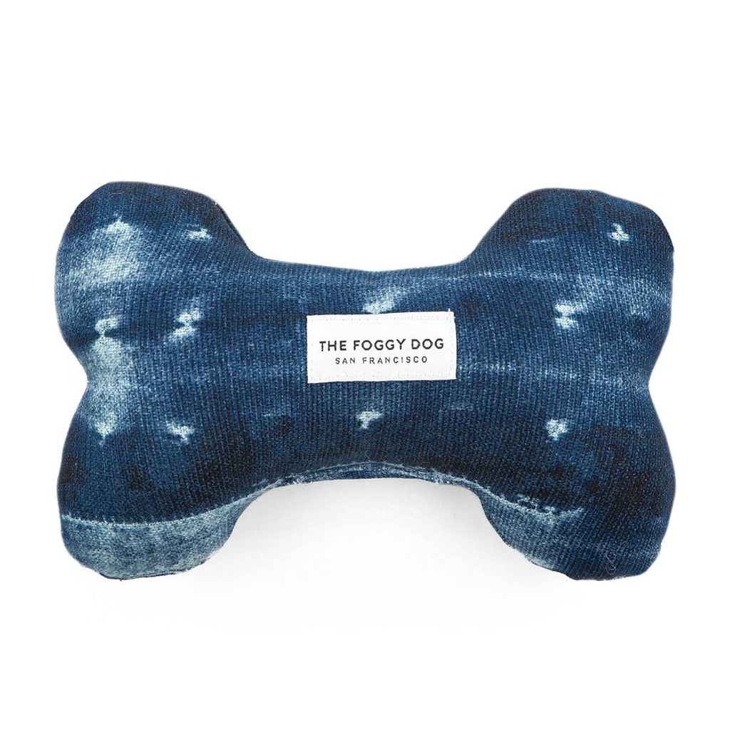 The Foggy Dog - Indigo Mud Cloth Dog Bone Squeaky Toy