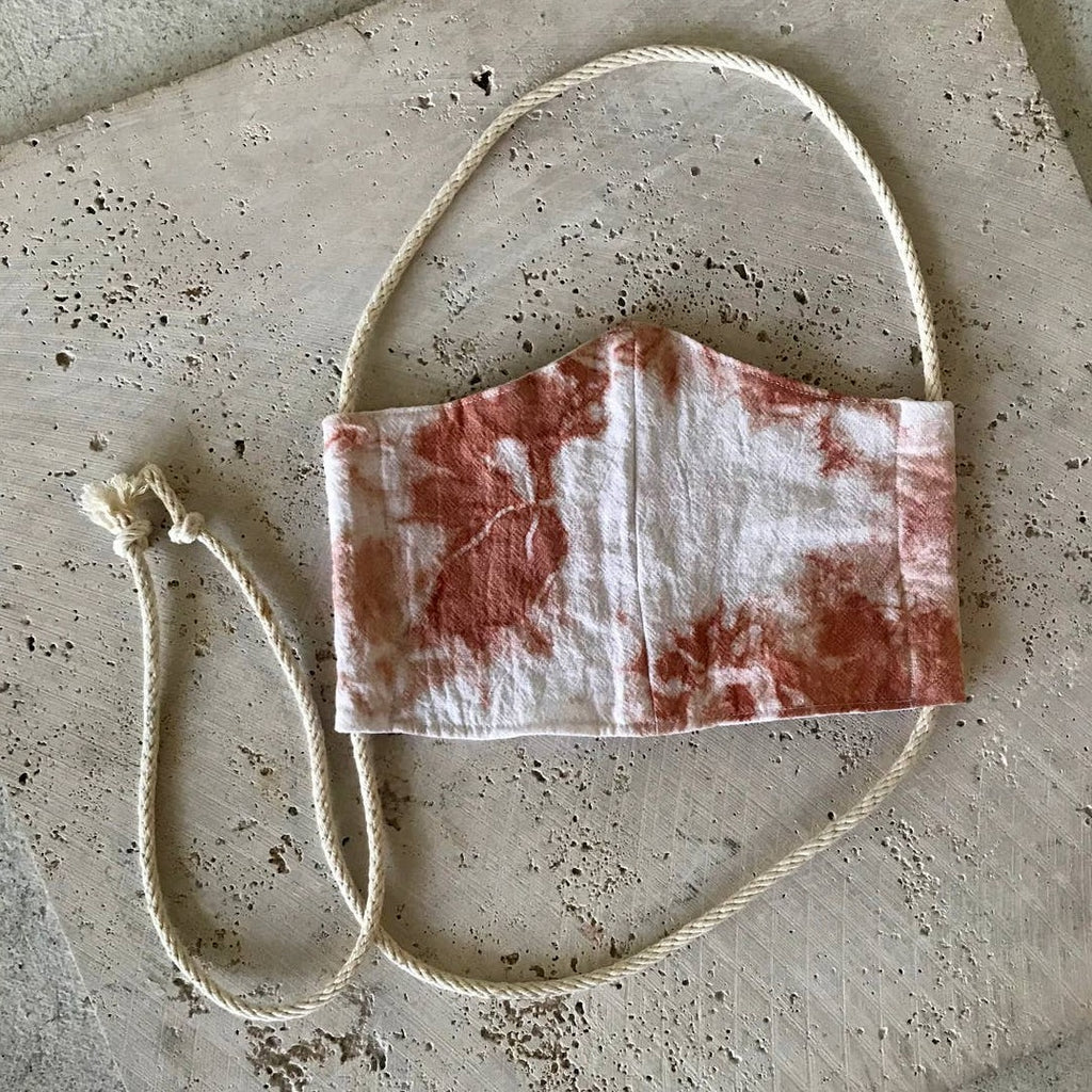 Rosemarie Textiles - Plant Dyed Cotton Face Mask Tie Dyed Terracotta