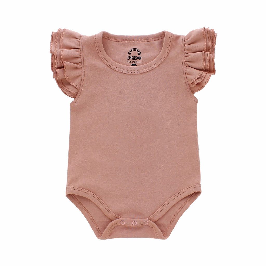 Emerson and Friends - Dusty Rose Flutter Sleeve Onesie