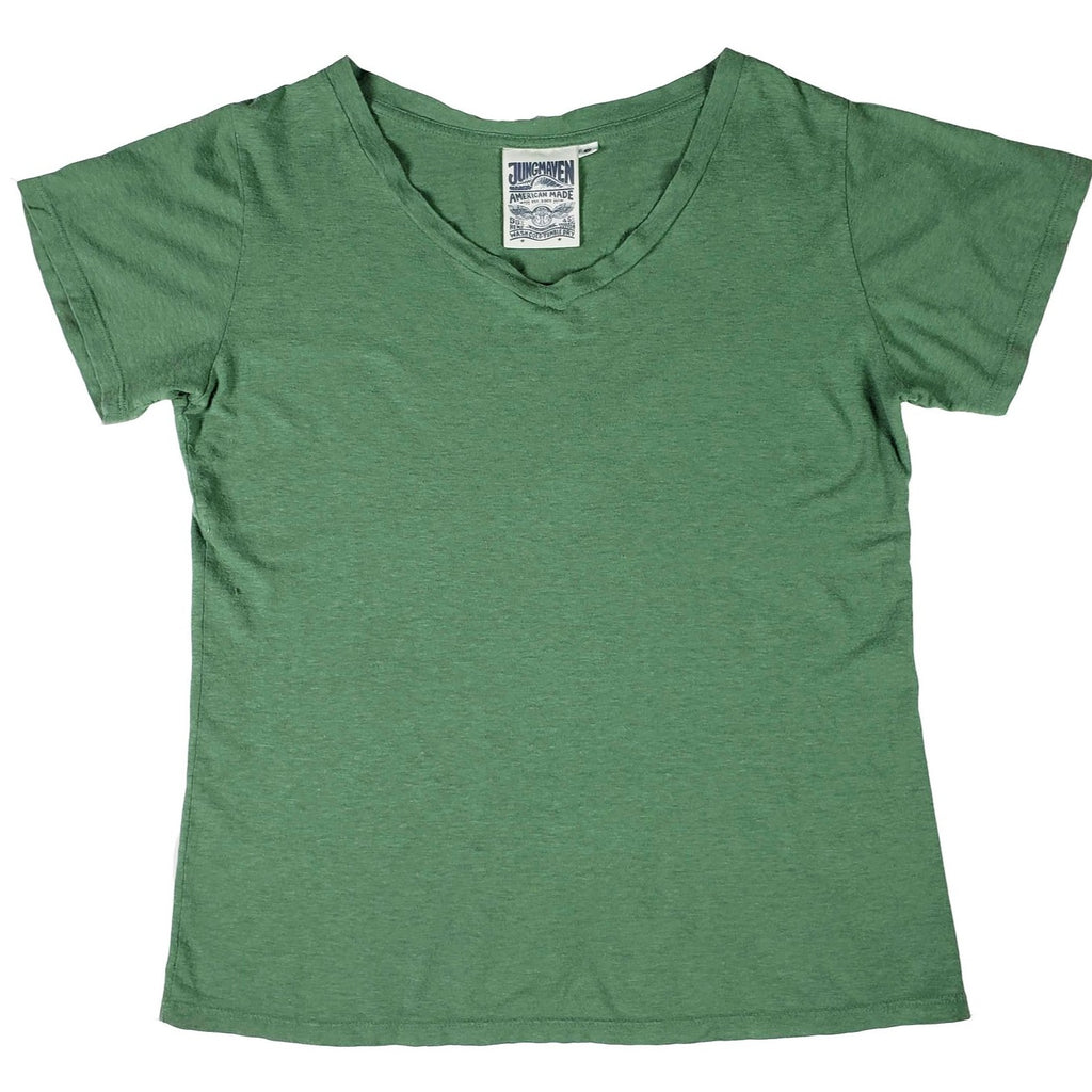 Jungmaven Paige V-Neck in Spruce Green