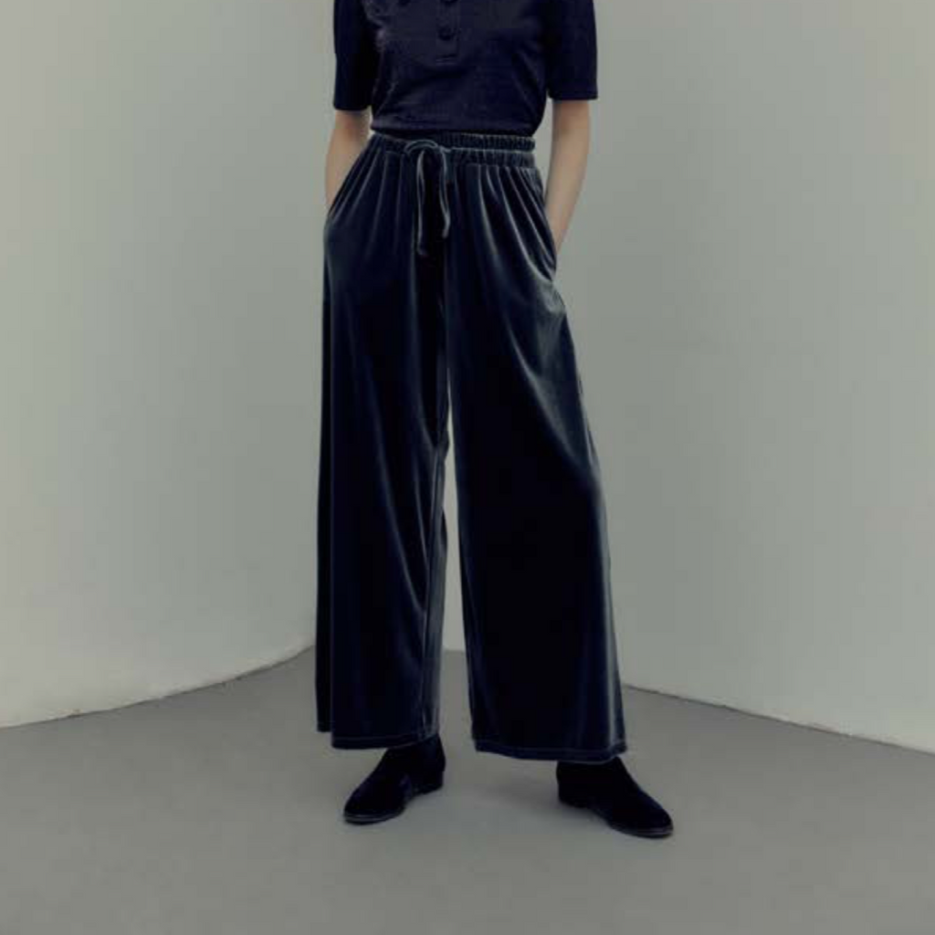 Hidden Forest Market - Velvet Wide Leg Pants Navy