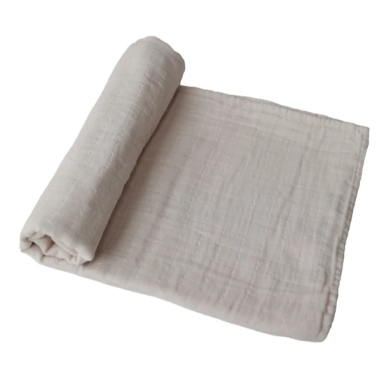 Mushie - Fog Swaddle Blanket Organic Cotton