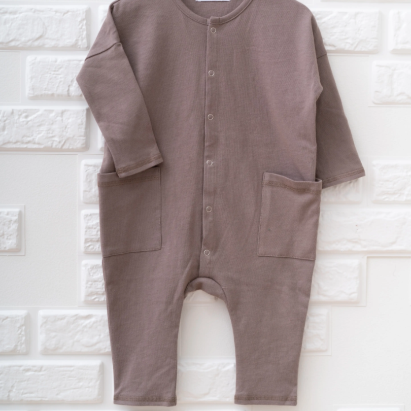Tiny Giants Clothing - L/S Patch Pocket Romper
