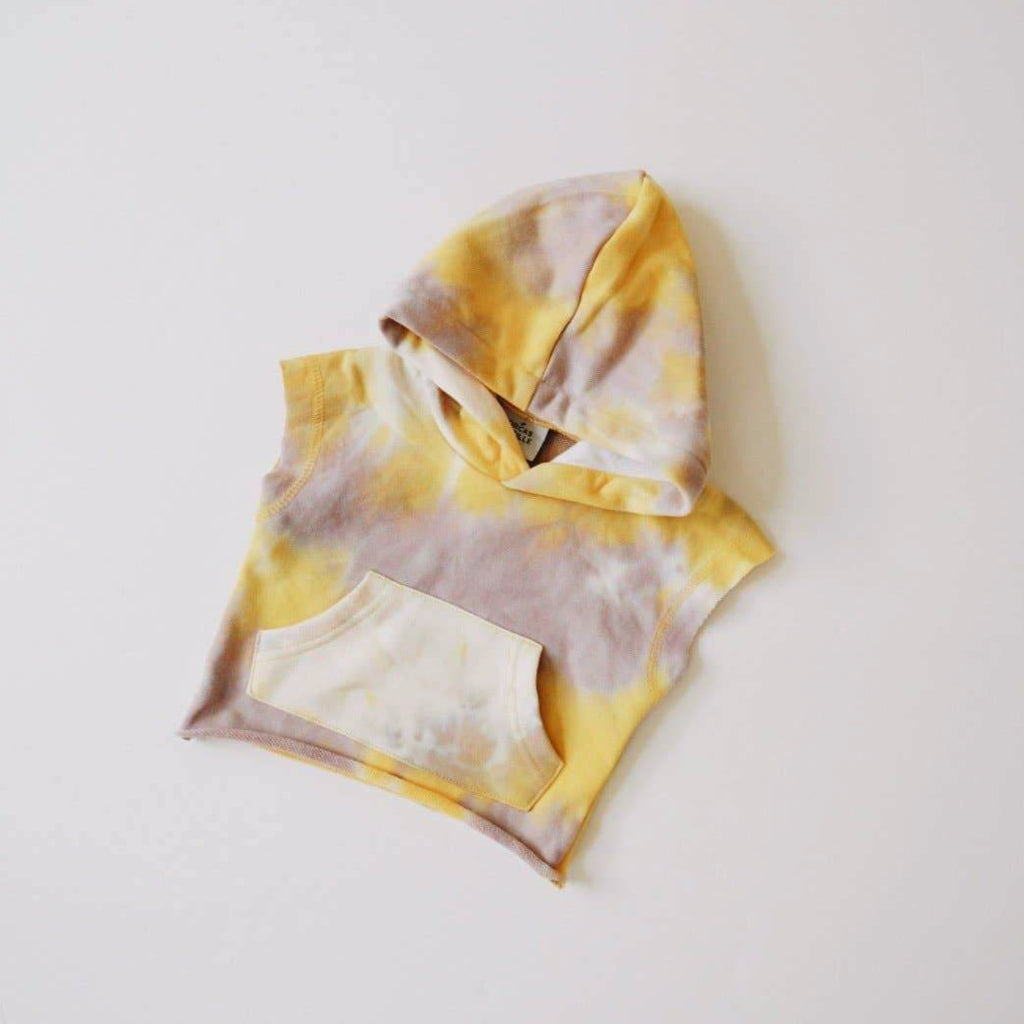 Orcas Lucille - Tie Dye Cut Off Hoodie - Gold + Lavender