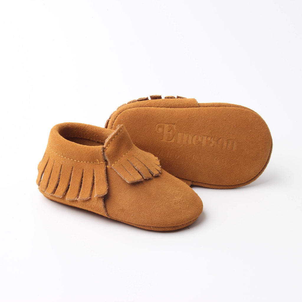 Mustard Leather Baby Moccasins
