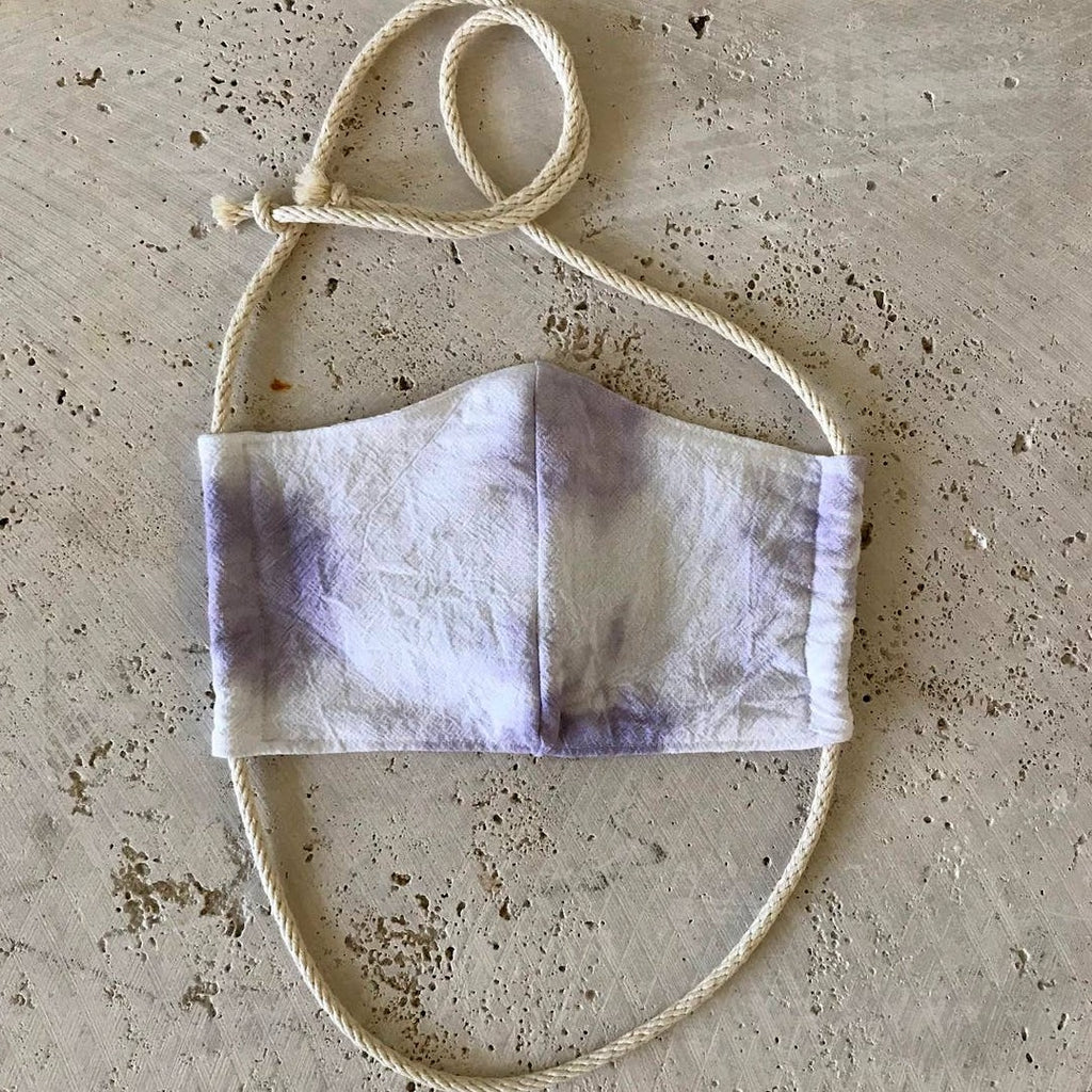 Rosemarie Textiles - Plant Dyed Cotton Face Mask Tie Dyed Lavender