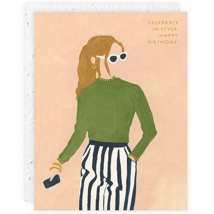 Seedlings - Celebrate In Style Girl Wearing Sunglasses Birthday Card
