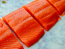 Load image into Gallery viewer, Free Shipping to Your Doorstep: Tom's Wild Alaskan Sockeye Salmon, dry ice boxed (minimum 10 lbs, ~6 individually sealed fillets)