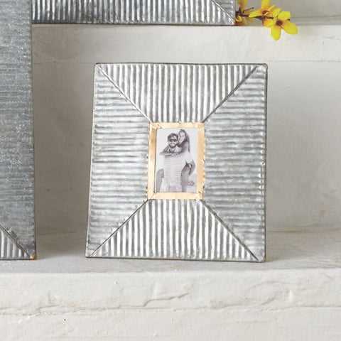 Small Ribbed Tin Photo Frame by Mud Pie