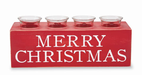 Merry Christmas Votive Holder by Mud Pie