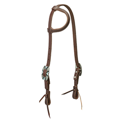 Working Cowboy Sliding Ear Headstall Rope Edge Hardware Chestnut