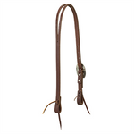 Working Cowboy Slim Slit Ear Headstall Rope Edge Hardware Chestnut