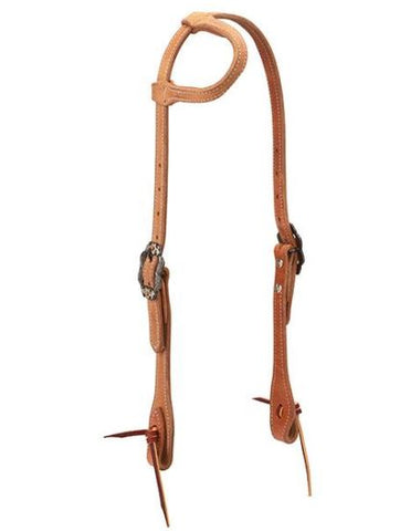 Rough Out Russet Harness Leather Sliding Ear Headstall