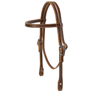 Doubled and Stitched Harness Leather Browband Headstall, Pony