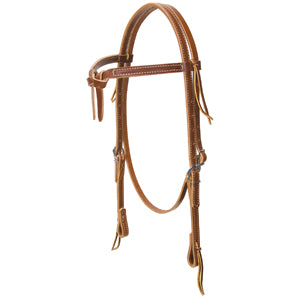 Deluxe Latigo Leather Knotted Browband Headstall, Brown