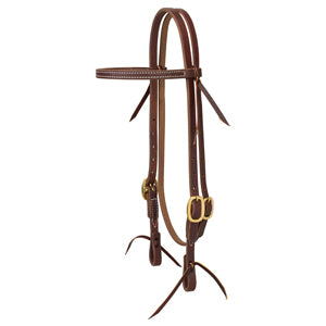 "Working Cowboy Economy Browband Headstall, 5/8"", Solid Brass"