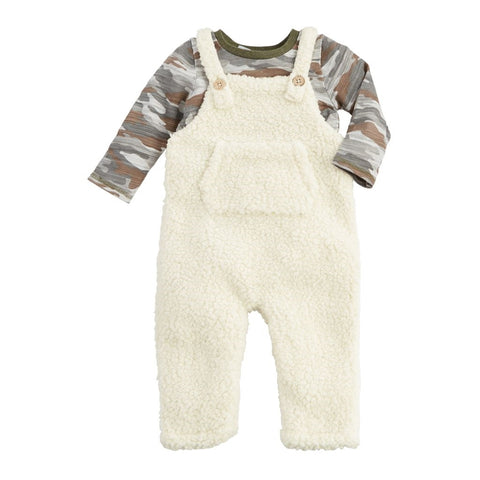 Mud Pie Camo Sherpa Overall Set
