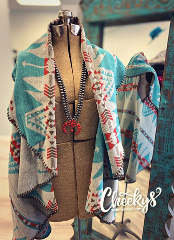 Western Print Reversible Vest - Ivory, Grey, Turquoise - From Cheeky's