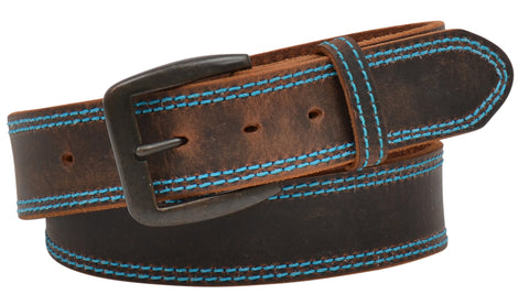 "3D 1 1/2"" Distressed Brown w/ Hot Blue Stitching"